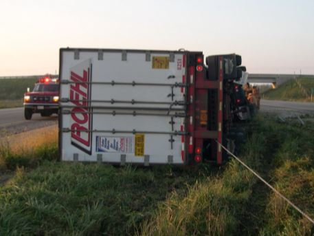 Leo Krull's truck captured by median cable barrier on Hwy. 41. Photo courtesy The Fond du Lac, Wis. Sheriff's Office